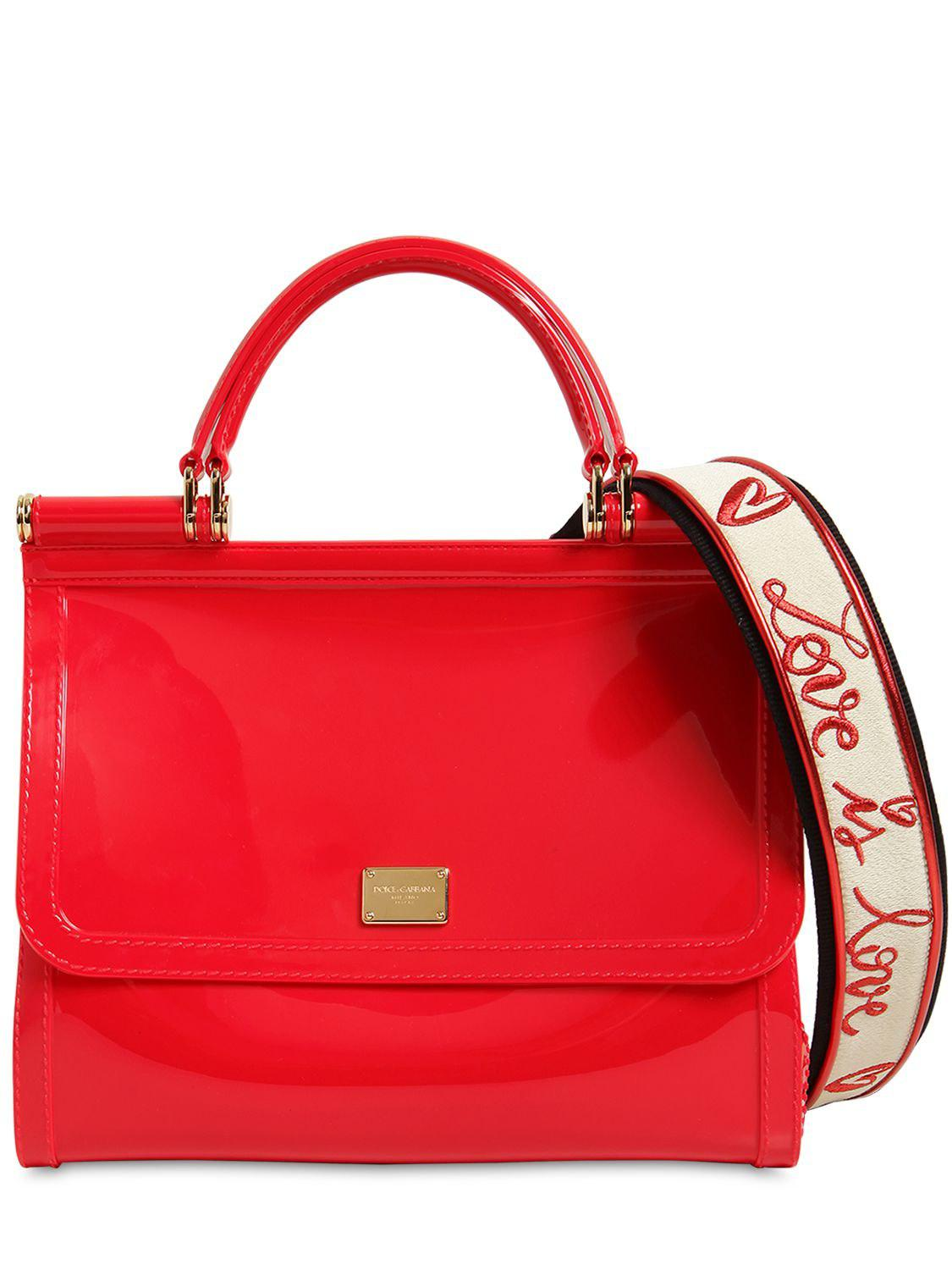2c9b16ac87be Lyst - Dolce   Gabbana Sicily Faux Patent Leather Bag in Red