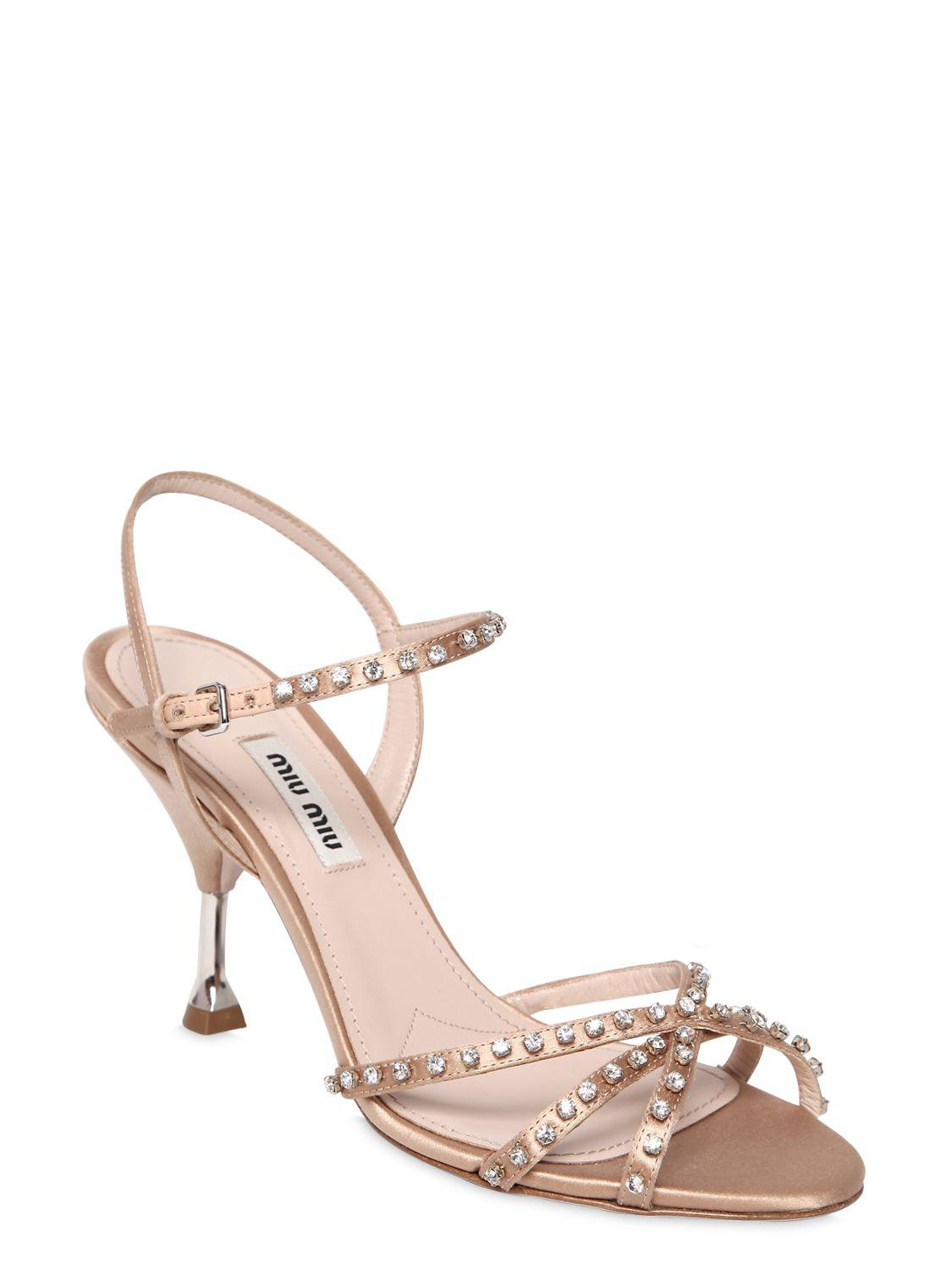 Miu Miu 85MM SWAROVSKI SATIN SANDALS