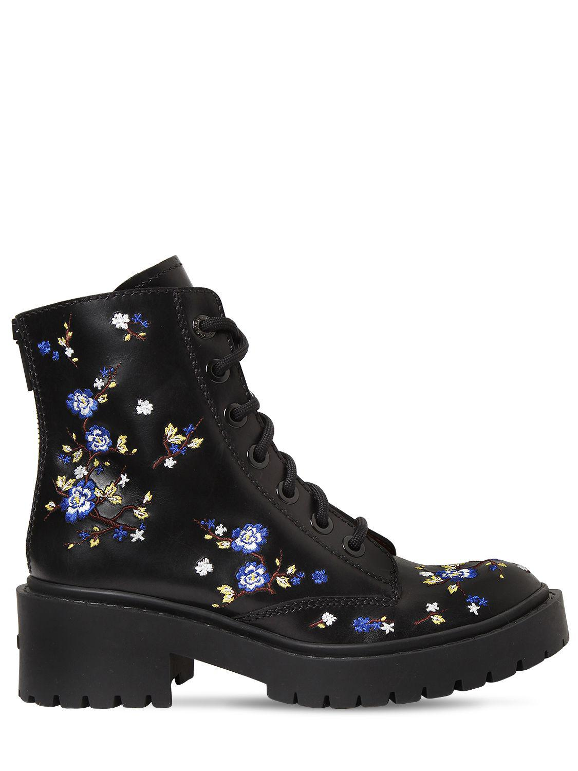 Kenzo 50MM FLORAL EMBROIDERED LEATHER BOOTS QFheJj1