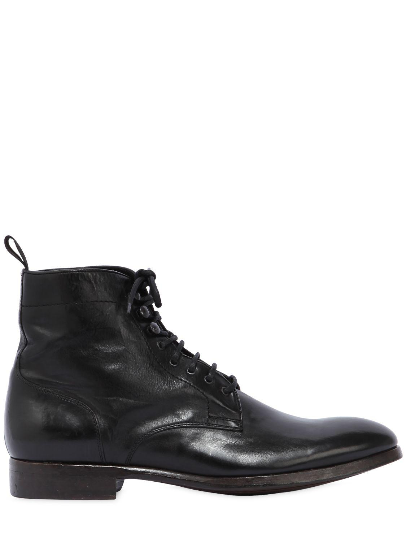 Rolando Sturlini. Men's Black Washed Leather Boots