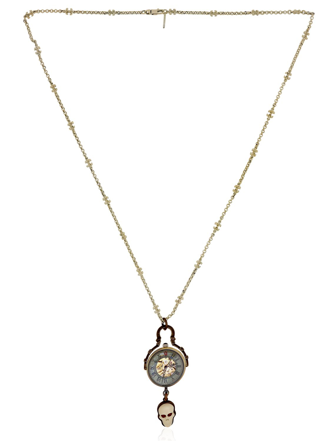 Cantini Mc Firenze White Skull Necklace In Metallic For