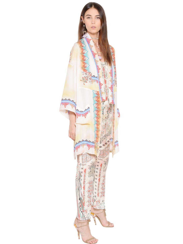 Etro Printed Silk Chiffon Kimono Style Jacket