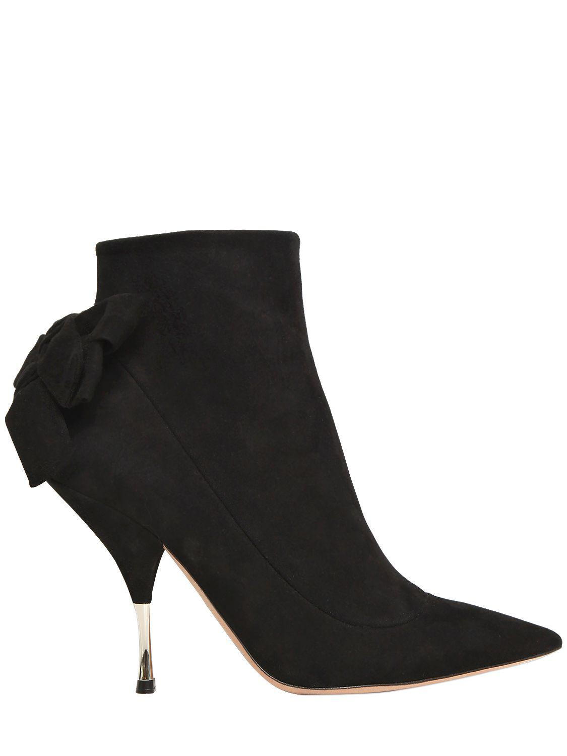 Rochas 100MM BOW SUEDE ANKLE BOOTS FhD3Ve