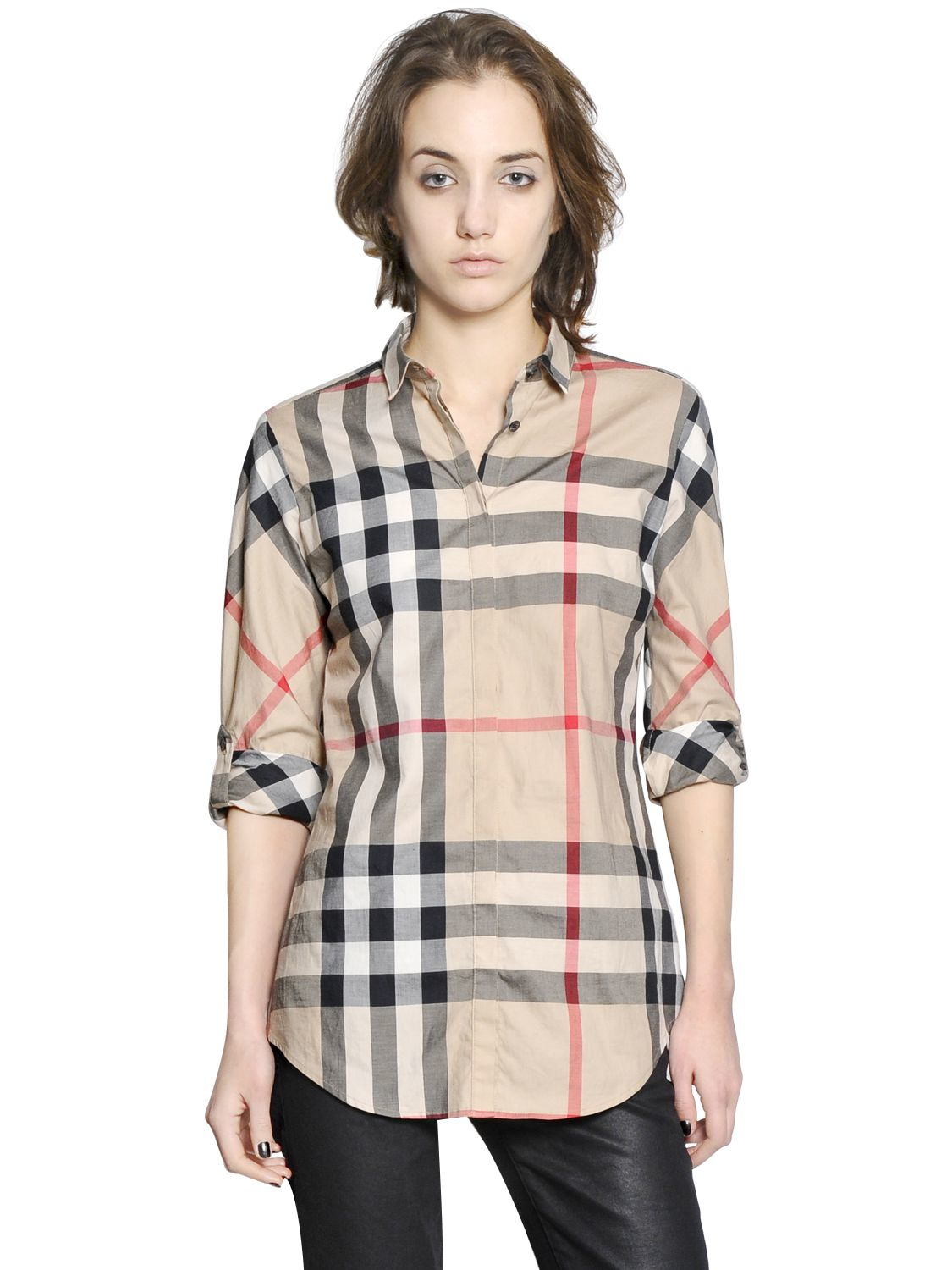 Burberry brit checked cotton poplin shirt in natural lyst for Burberry brit checked shirt