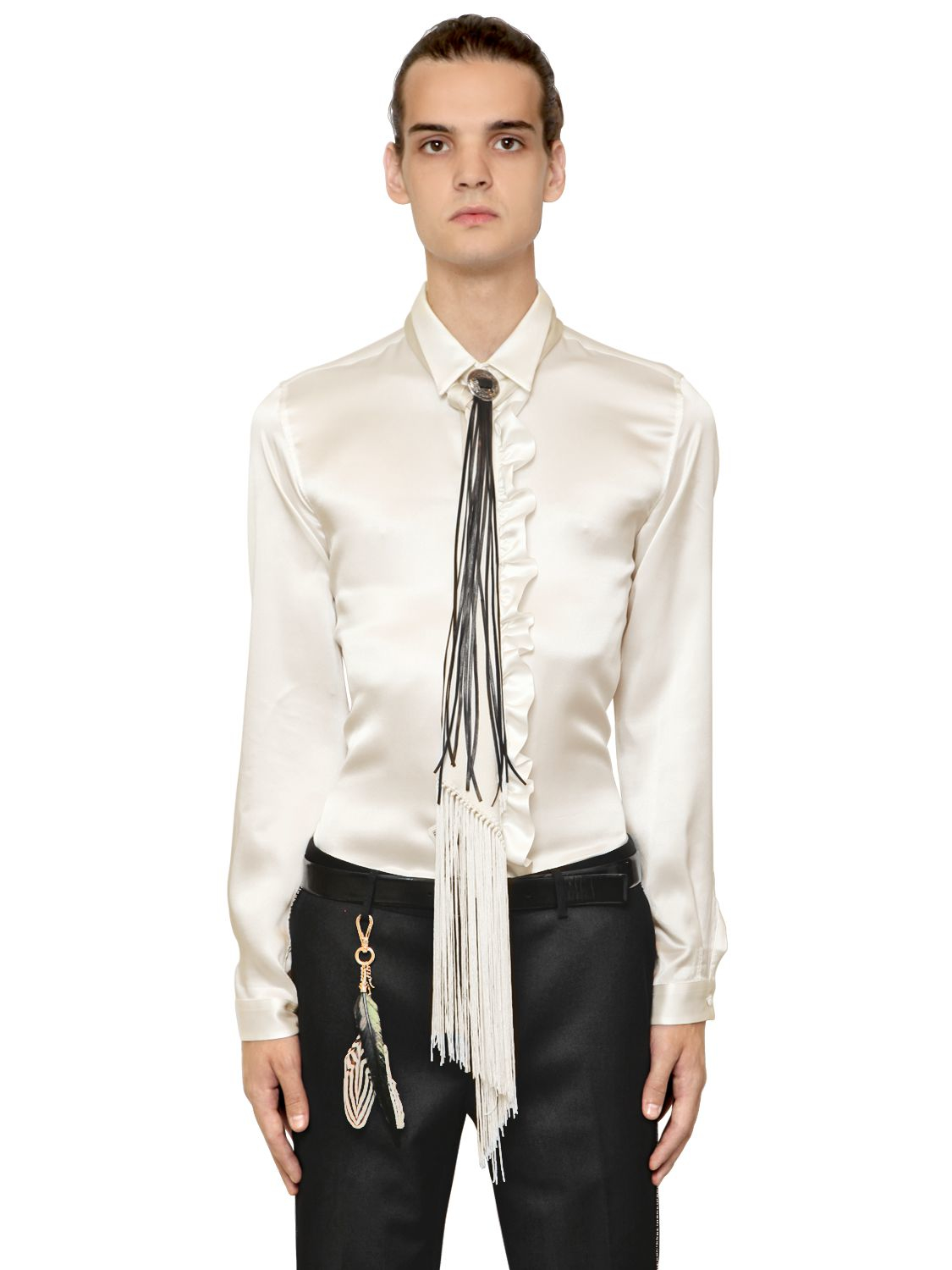 Lyst roberto cavalli ruffled trim silk satin shirt in for Frilly shirts for men