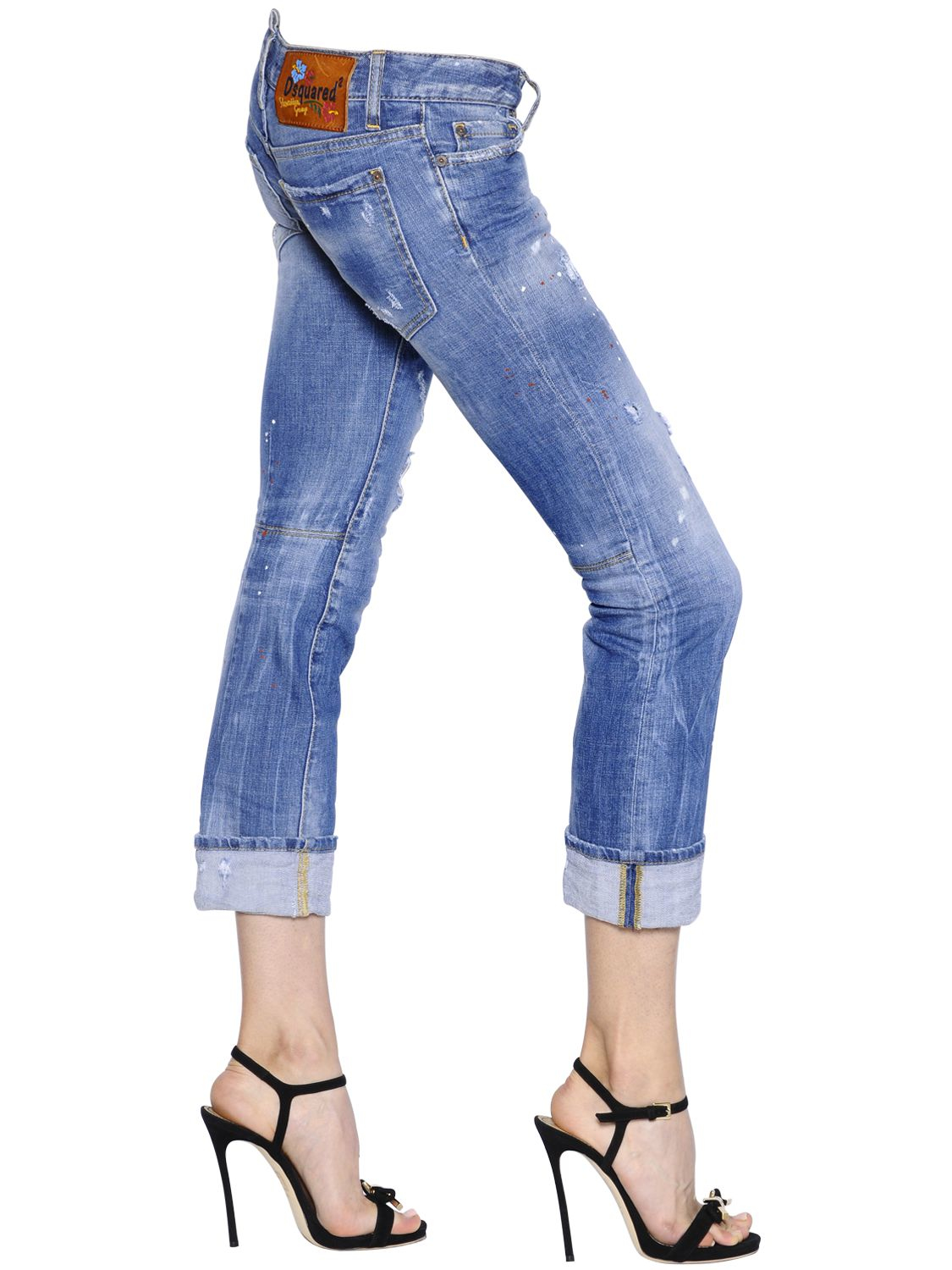 Lyst Dsquared 178 Sexy Rolled Up Stretch Denim Jeans In Blue
