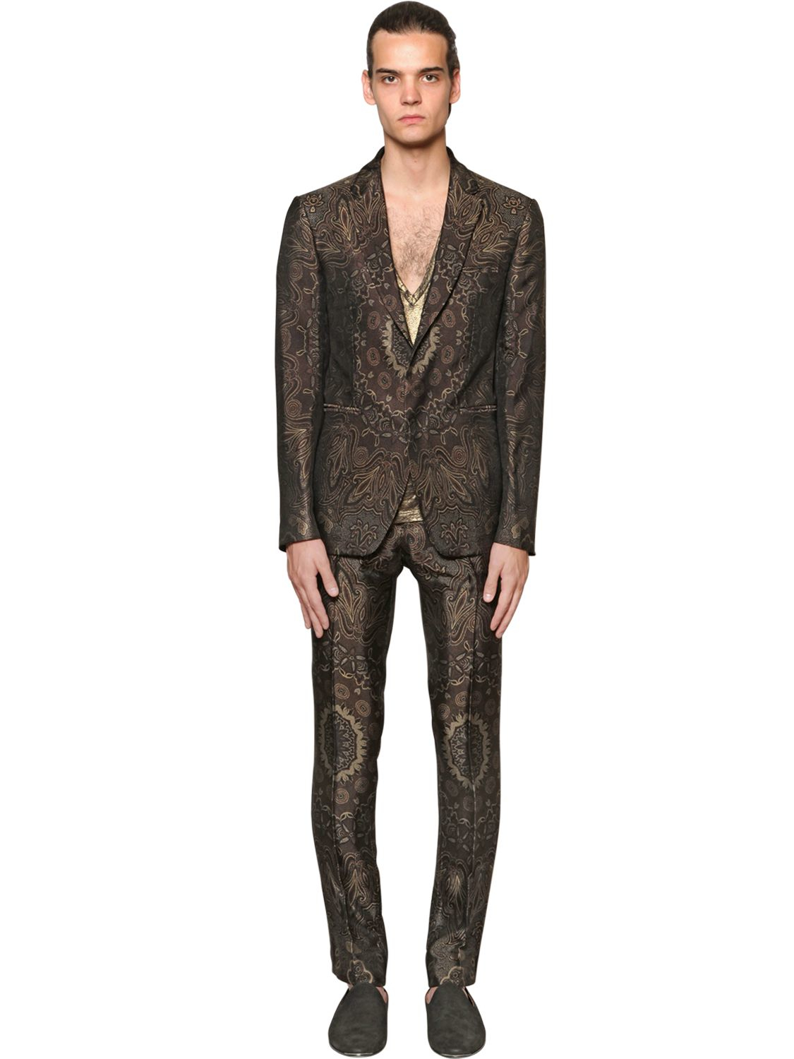 Etro Paisley Viscose Amp Silk Jacquard Jacket In Green For