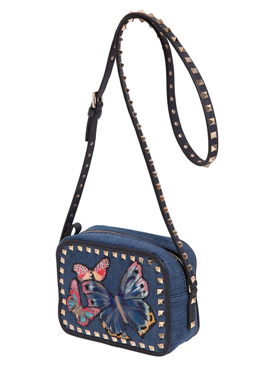 Valentino butterfly embroidered denim camera bag lyst