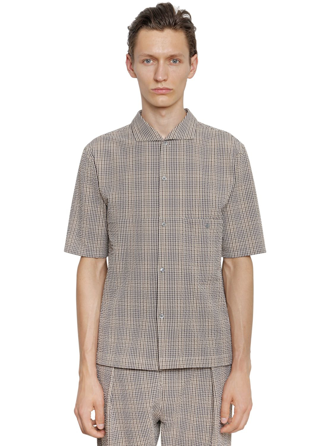 Christophe lemaire cotton seersucker short sleeve shirt in for Mens short sleeve seersucker shirts