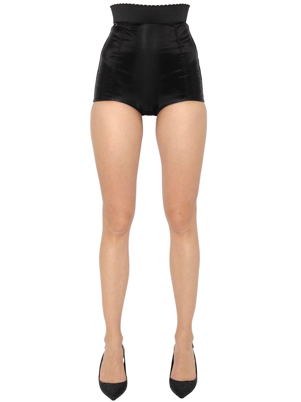 Dolce & gabbana High Waisted Silk Charmeuse Shorts in Black | Lyst