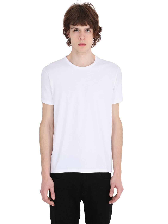 Jil sander round neck stretch cotton t shirt in white for for Jil sander mens shirt