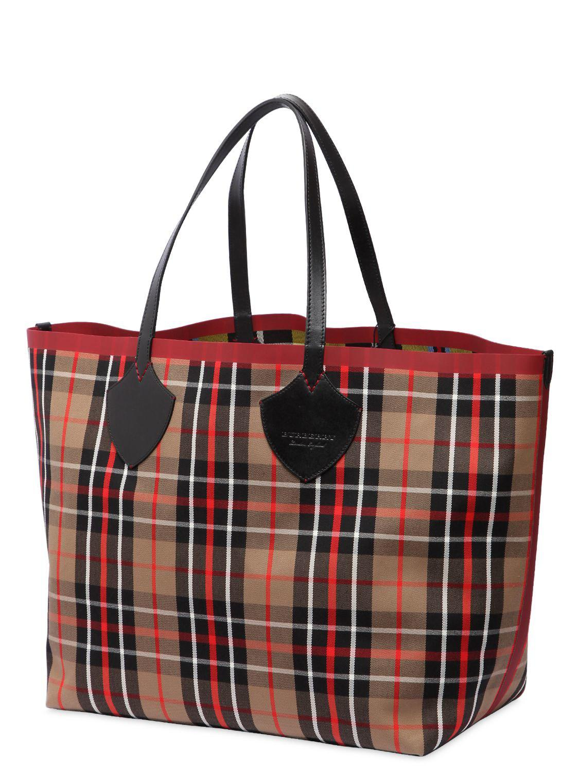 0b9920441801 Lyst - Burberry Runway Ss18 Reversible Check Tote Bag