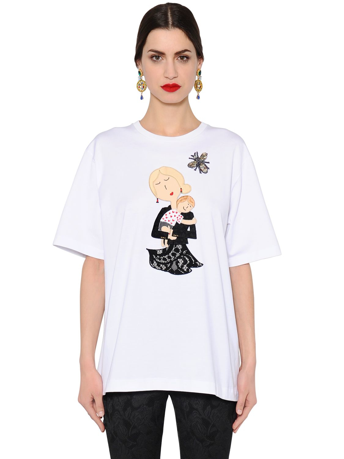dolce gabbana oversize mother cotton jersey t shirt in multicolor white lyst. Black Bedroom Furniture Sets. Home Design Ideas