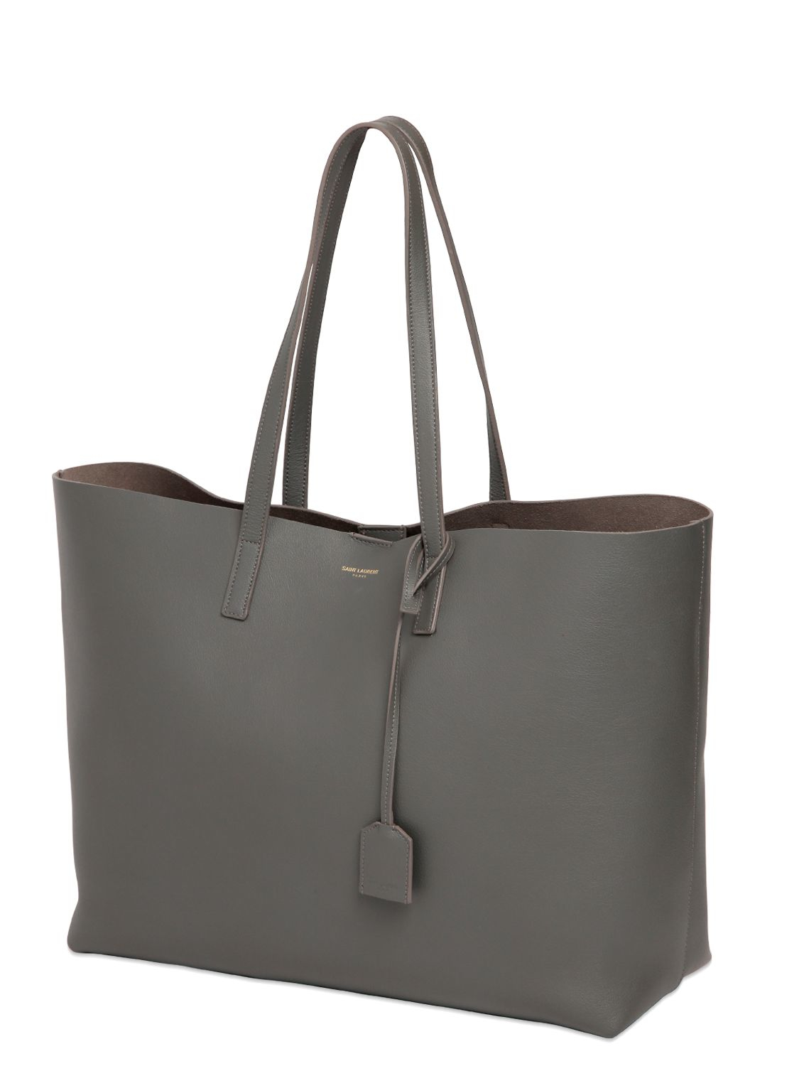 Lyst Saint Laurent Soft Leather Tote Bag In Gray