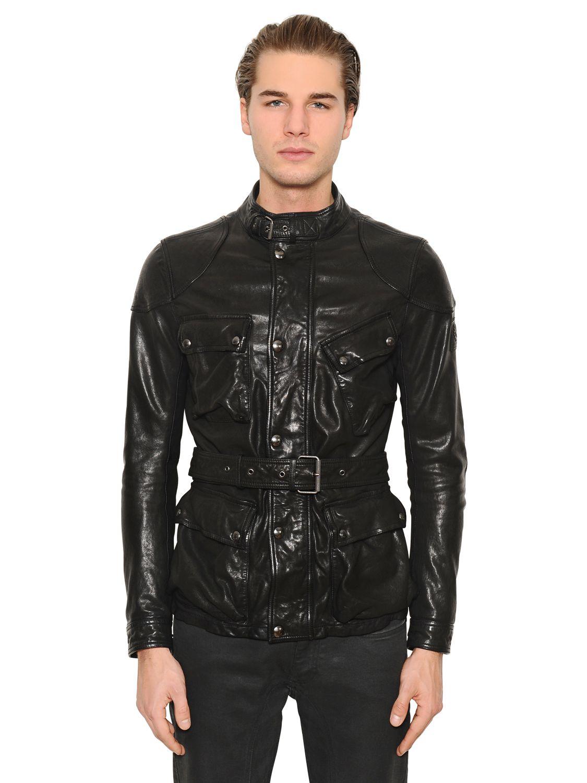 Belstaff Speedmaster Leather Field Jacket In Black For Men