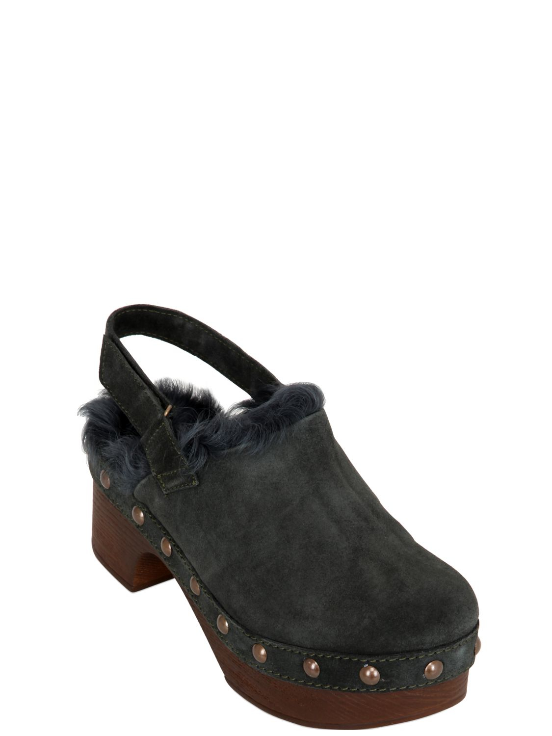 Lyst Mr Amp Mrs Italy 45mm Kalgan Shearling Amp Suede Clogs