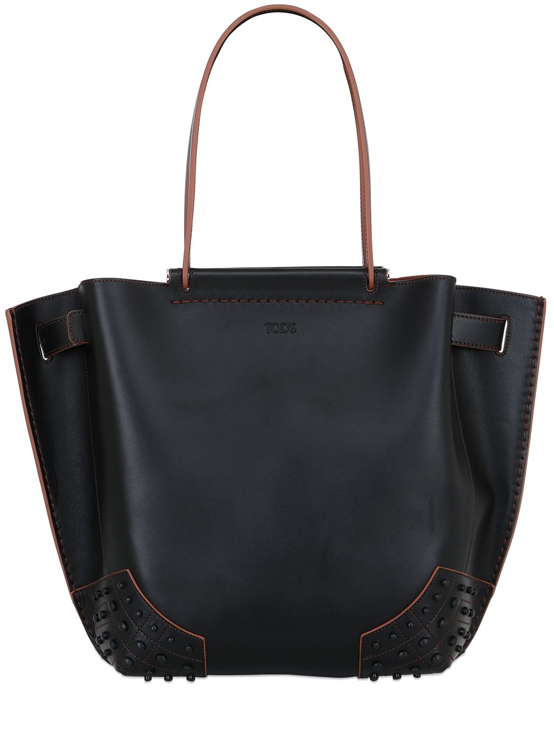 tod s wave leather tote bag in black lyst