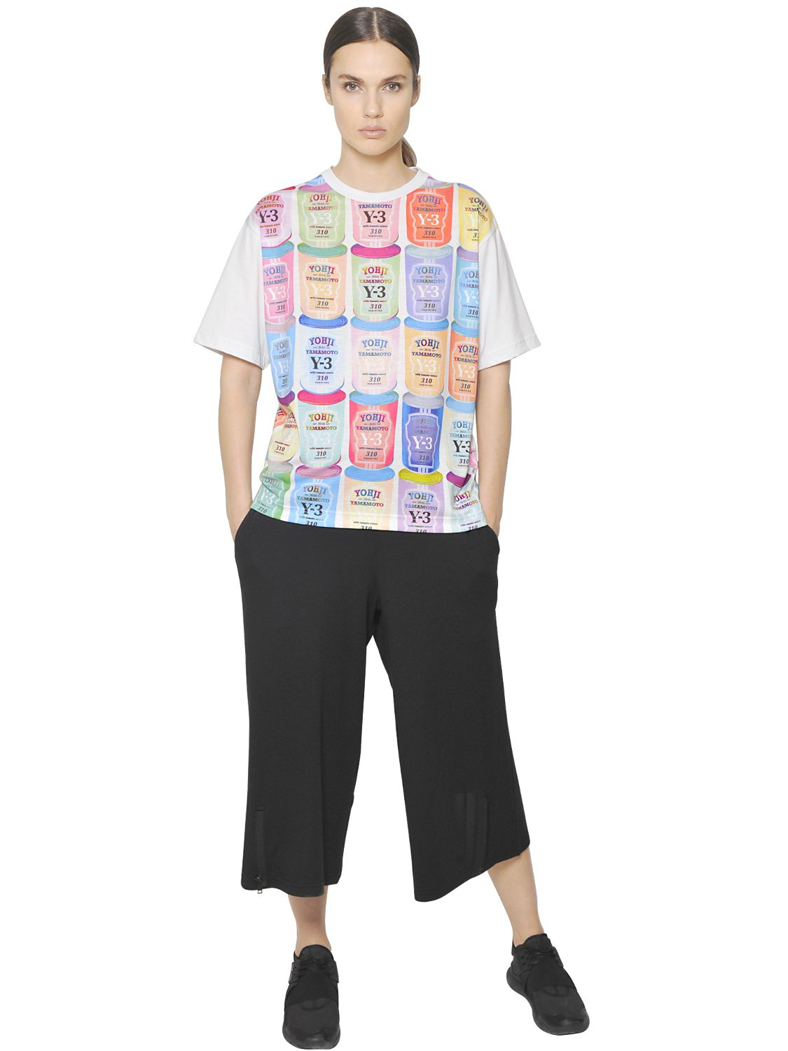 Lyst y 3 can printed cotton jersey t shirt for Where can i print t shirts