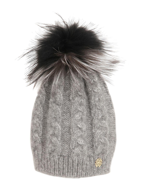 b09b4f1975eb1 Lyst - Roberto Cavalli Wool Blend Hat W  Fox Fur Pompom in Gray