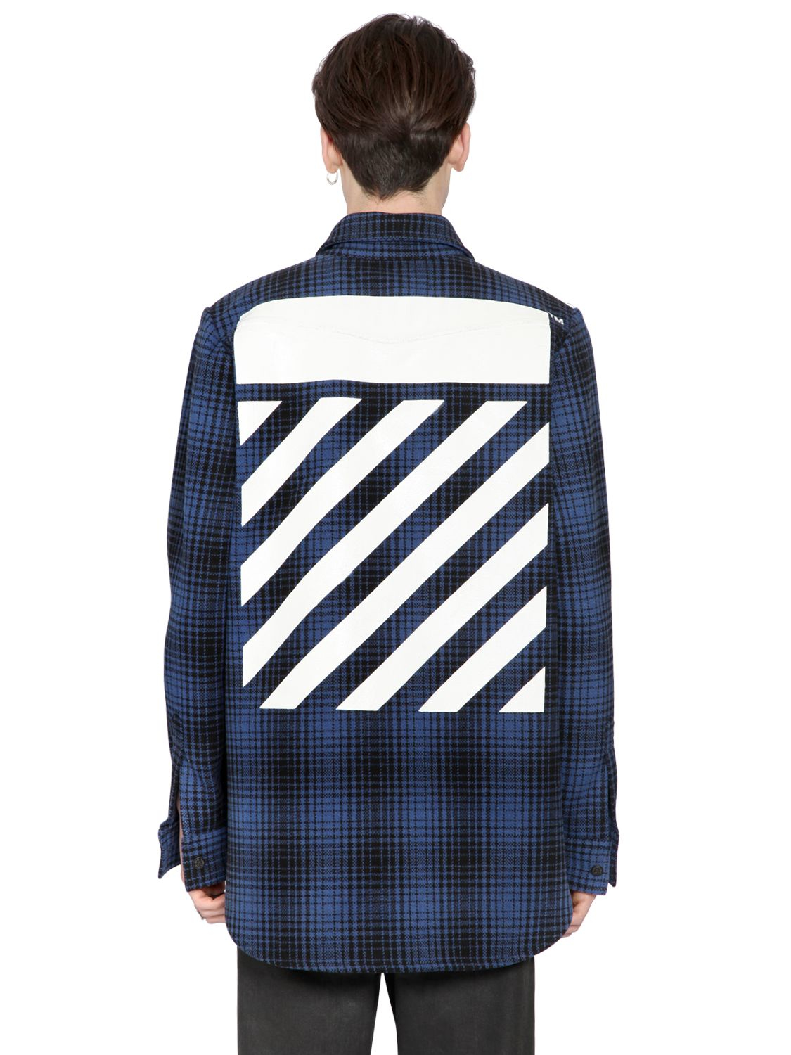 Off white c o virgil abloh stripes printed wool flannel for Mens wool flannel shirt