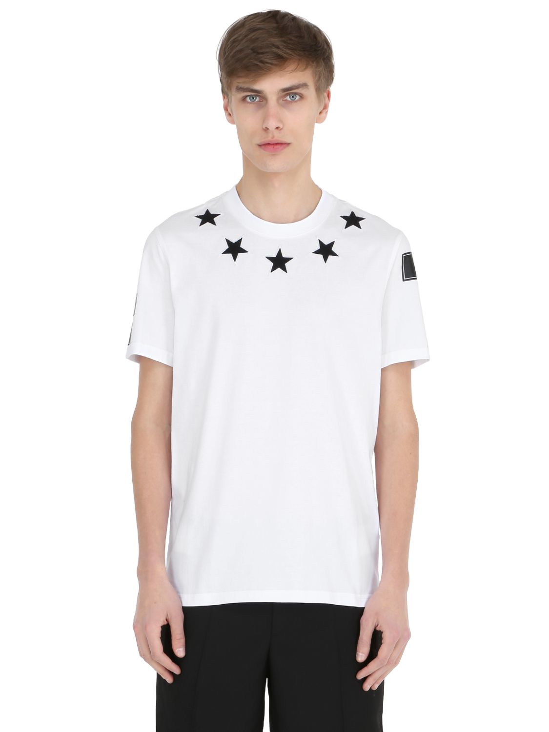 Givenchy cuban star patches jersey t shirt in black for for Givenchy 5 star shirt