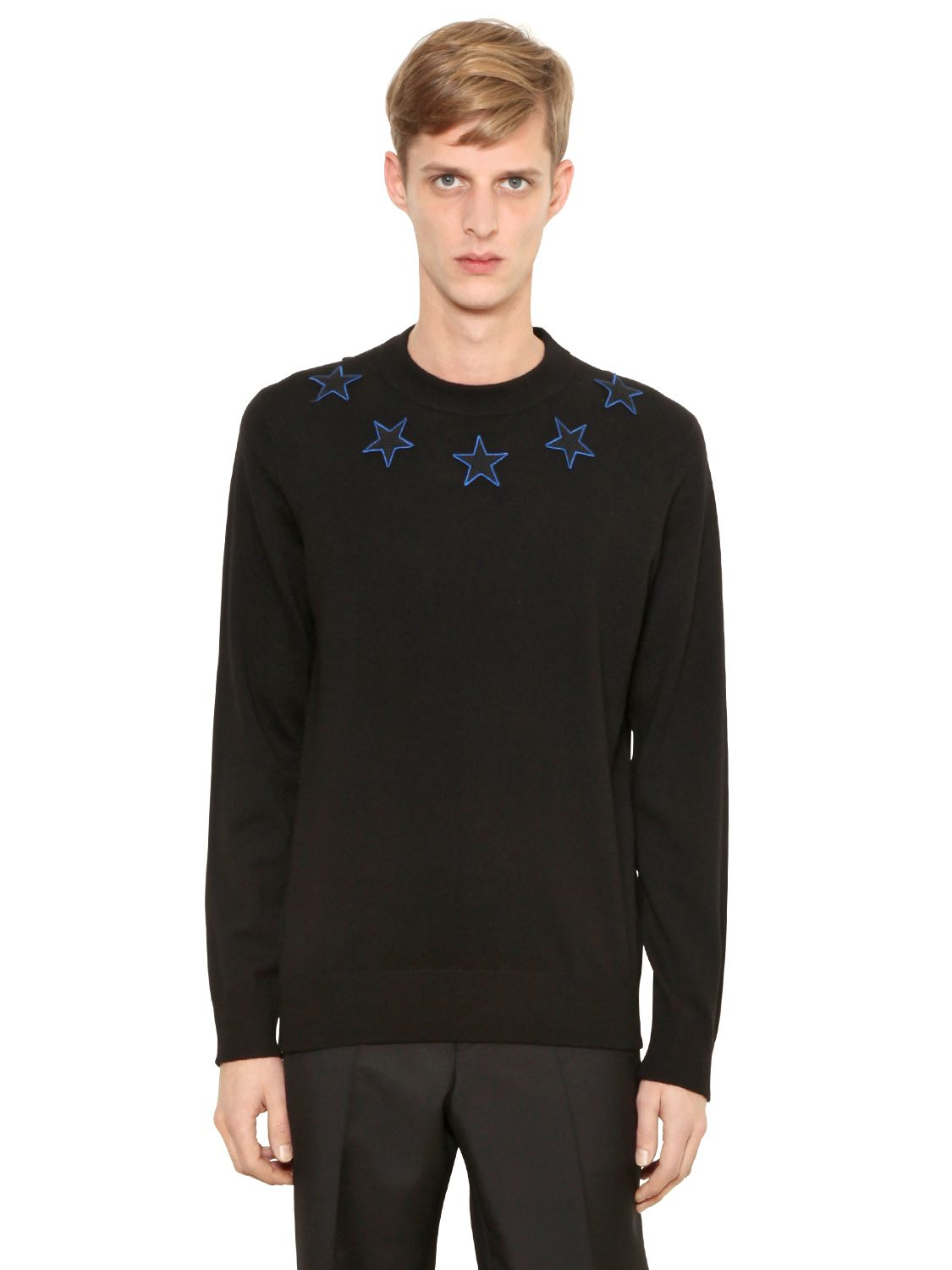 givenchy star patches wool blend sweater in black for men lyst. Black Bedroom Furniture Sets. Home Design Ideas