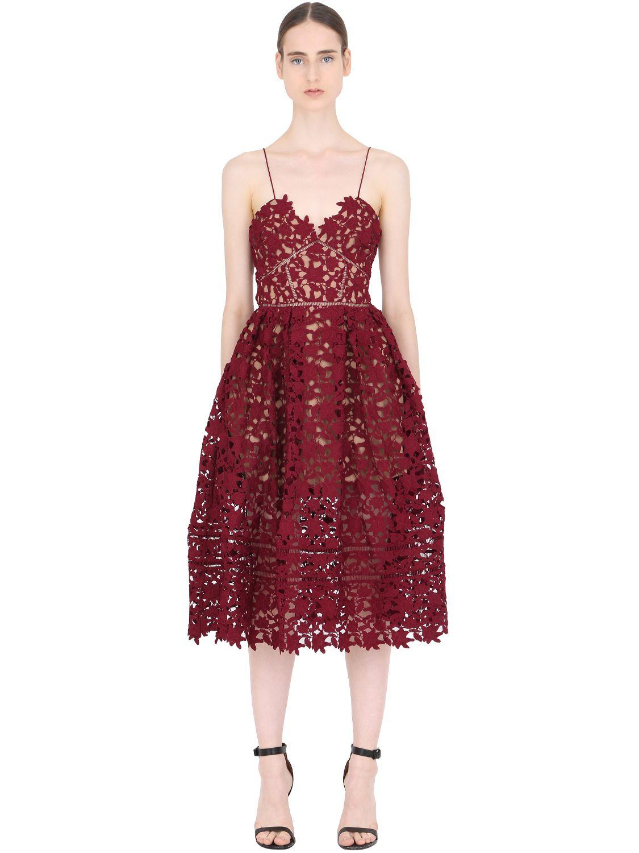 089e8c58ed2 Self-Portrait Azaelea Guipure Lace Dress in Red - Lyst