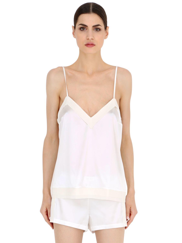 La perla Essence Silk Satin Pajama Top in White
