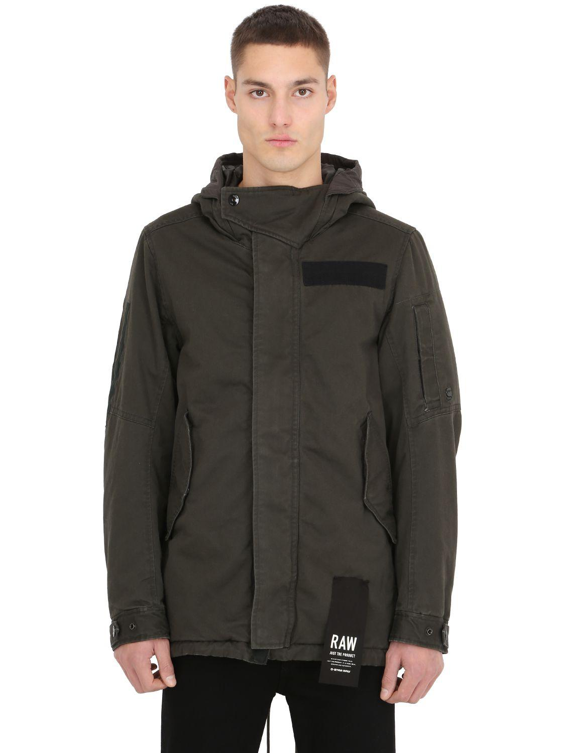 g star raw hooded cotton parka w patches for men lyst. Black Bedroom Furniture Sets. Home Design Ideas