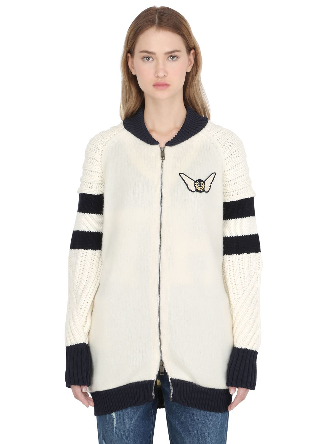 850ad0df Tommy Hilfiger Gigi Hadid Wool-Blend Knit Bomber Jacket in White - Lyst