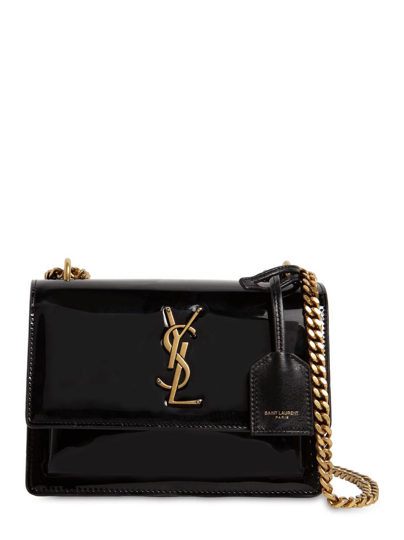 Saint Laurent - Black Small Sunset Patent Leather Shoulder Bag - Lyst. View  fullscreen c3081837ed
