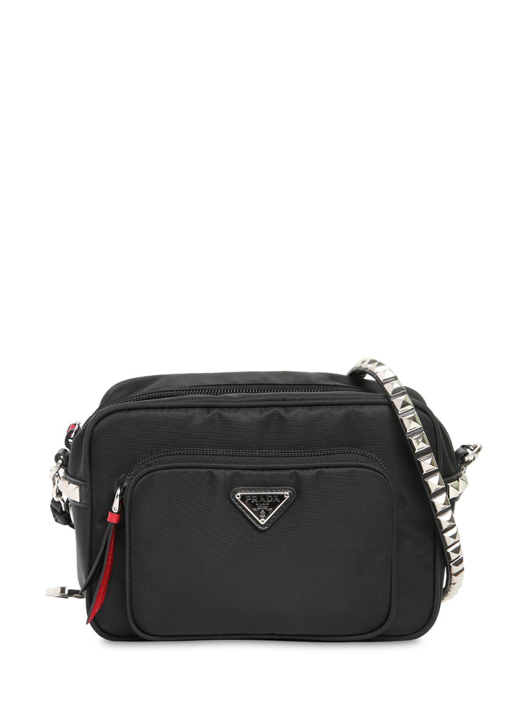 9584e16ba8d2 Lyst - Prada New Vela Nylon Bucket Bag W  Studs in Black