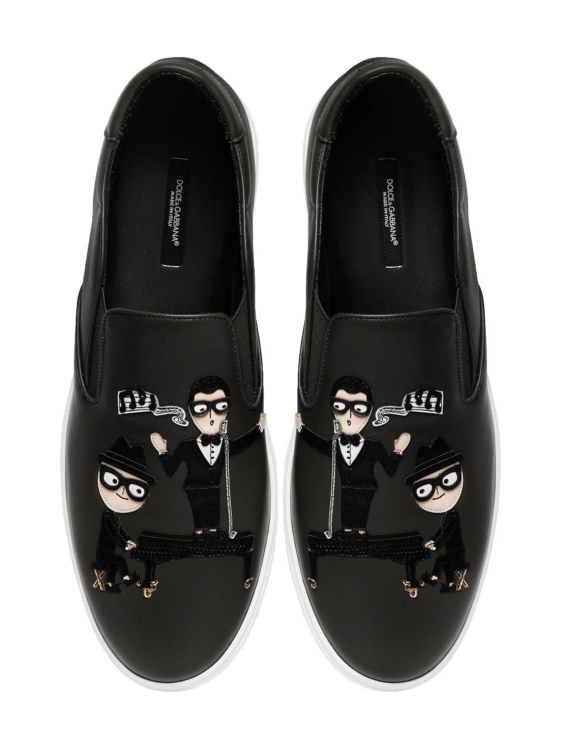 Dolce & Gabbana Designers Patch Leather Slip-on Sneakers ...