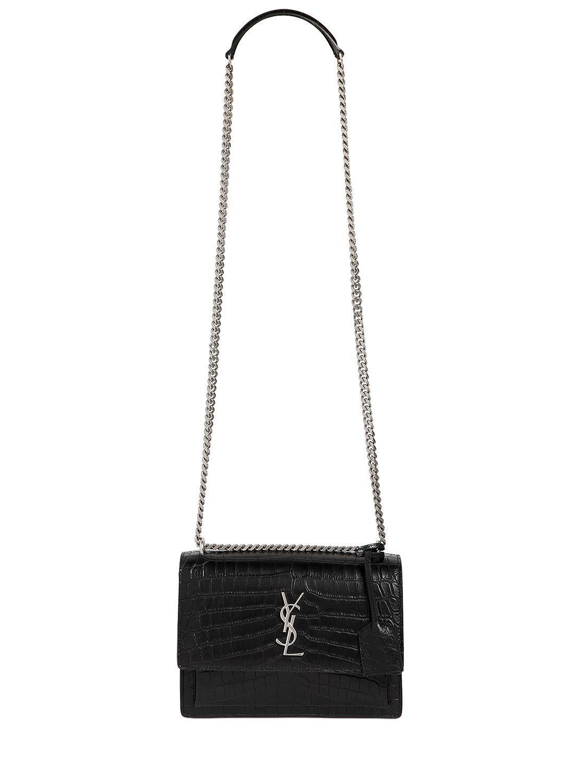 saint laurent medium sunset croc embossed leather bag in. Black Bedroom Furniture Sets. Home Design Ideas