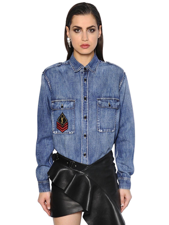 Lyst saint laurent ysl military patch cotton denim shirt for Saint laurent shirt womens