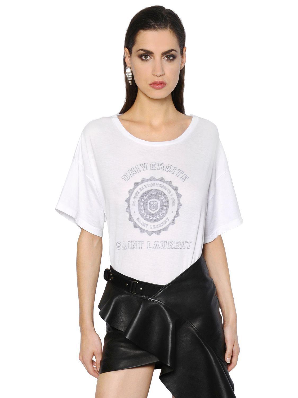 Saint laurent universite crest cotton jersey t shirt in for Saint laurent shirt womens