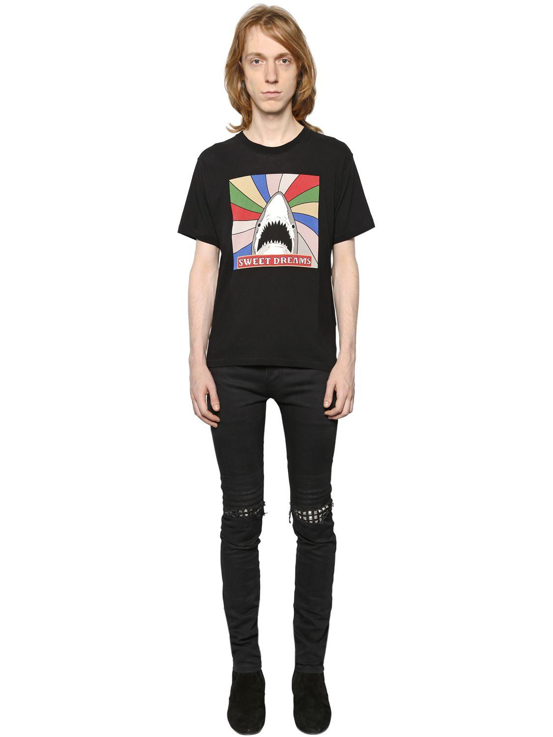 534f2f64 Saint Laurent Shark Sweet Dreams Cotton Jersey T-shirt in Black for ...