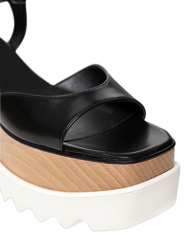 4a360806d07c Lyst - Stella McCartney 75mm Elyse Faux Leather Sandals in Black