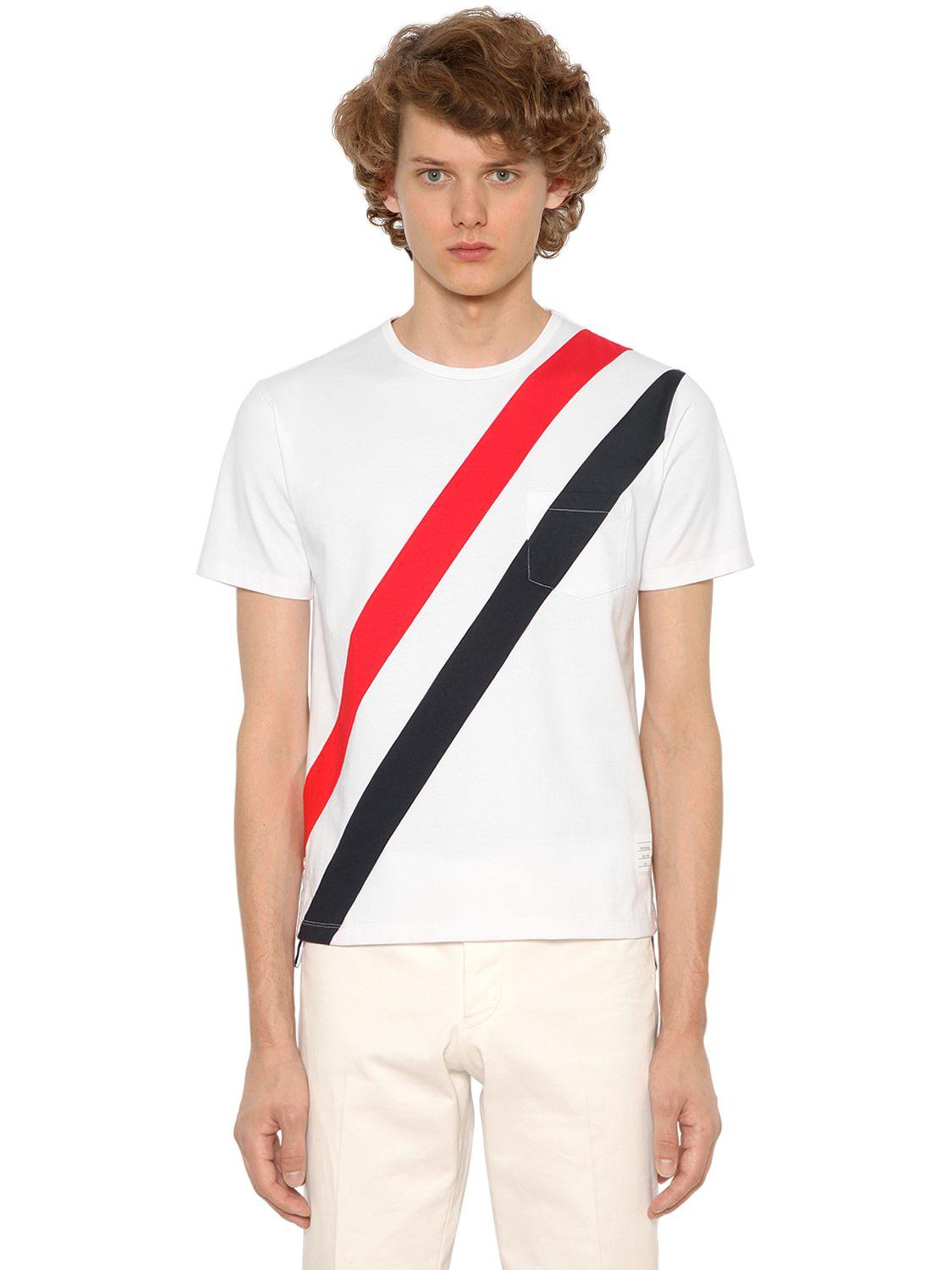 Thom browne diagonal stripes cotton jersey t shirt in for Thom browne t shirt
