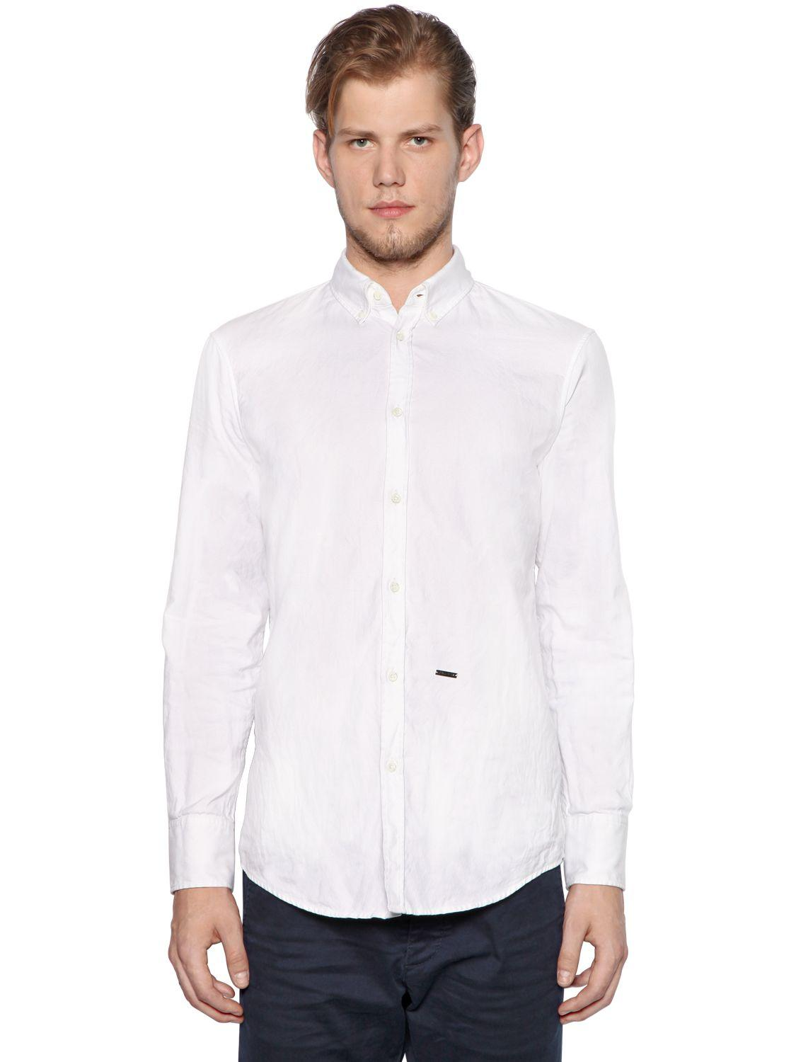 dsquared button down oxford cotton shirt in white for men