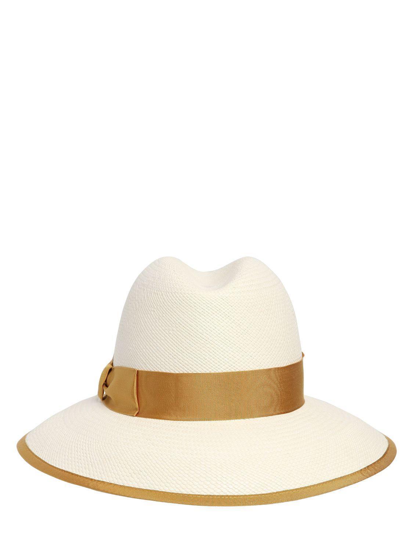 eecad5caaea2 Lyst - Borsalino Quito Claudette Panama Straw Hat in White
