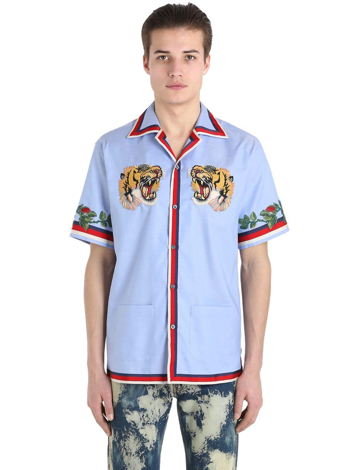 0d84c69a4 Gucci Tiger Patch Oxford Bowling Shirt in Blue for Men - Lyst