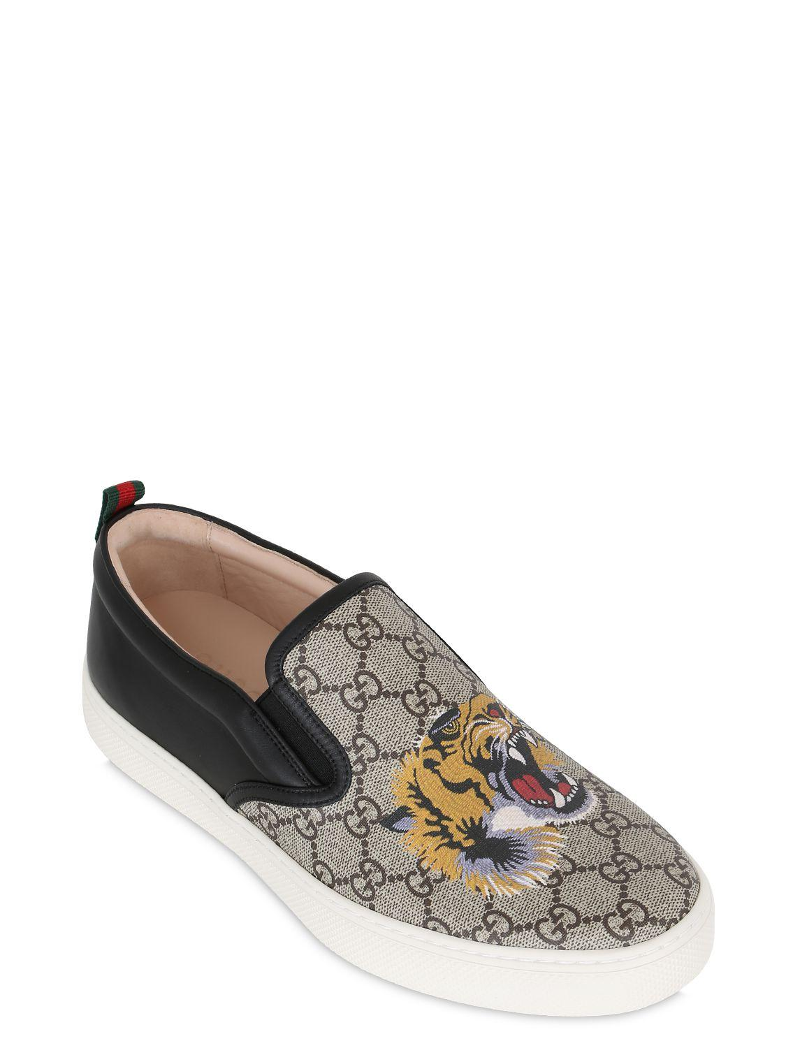 9f26a0d38b9ae Lyst - Gucci Tiger Print Gg Supreme Slip On Sneakers in Natural for Men