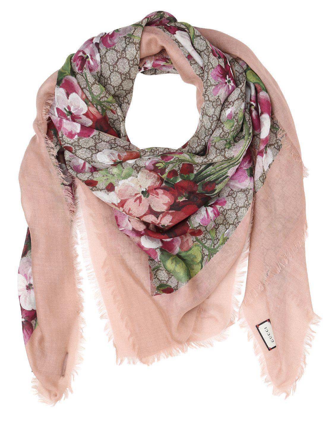gucci blooms print gg supreme scarf in pink lyst