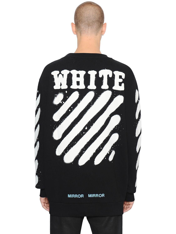 off white c o virgil abloh diag spray crewneck sweatshirt. Black Bedroom Furniture Sets. Home Design Ideas