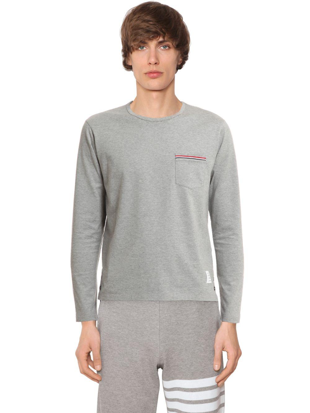 Thom browne cotton jersey long sleeve t shirt in gray for for Thom browne t shirt