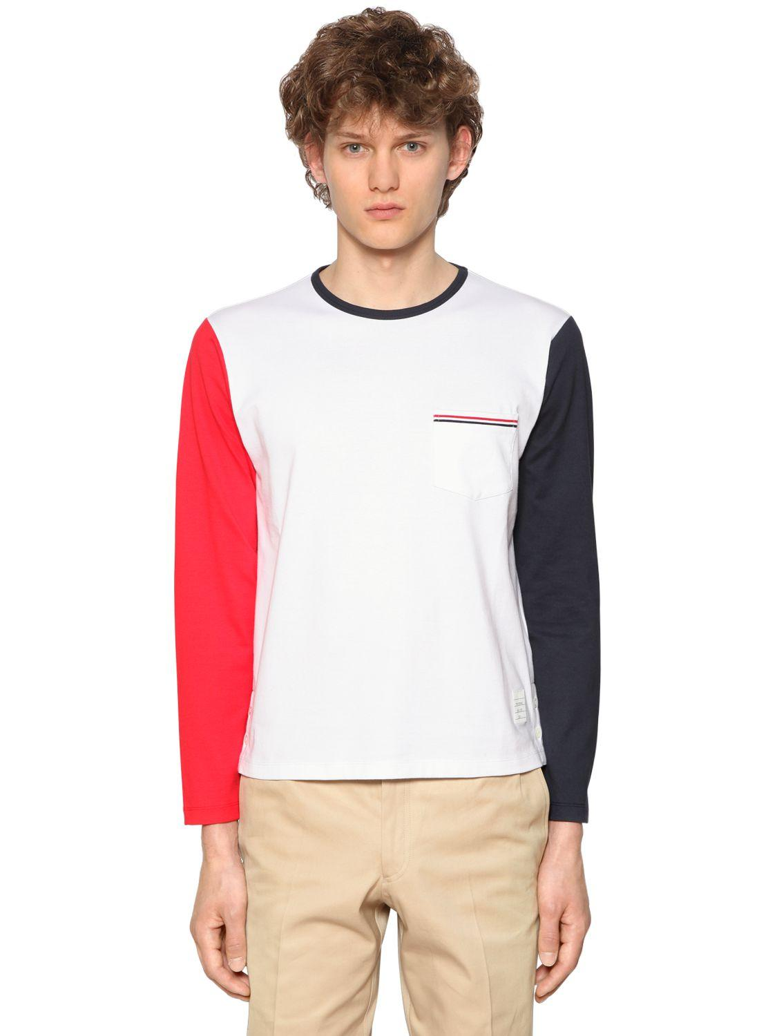 Thom browne color block jersey long sleeve t shirt for men for Thom browne t shirt
