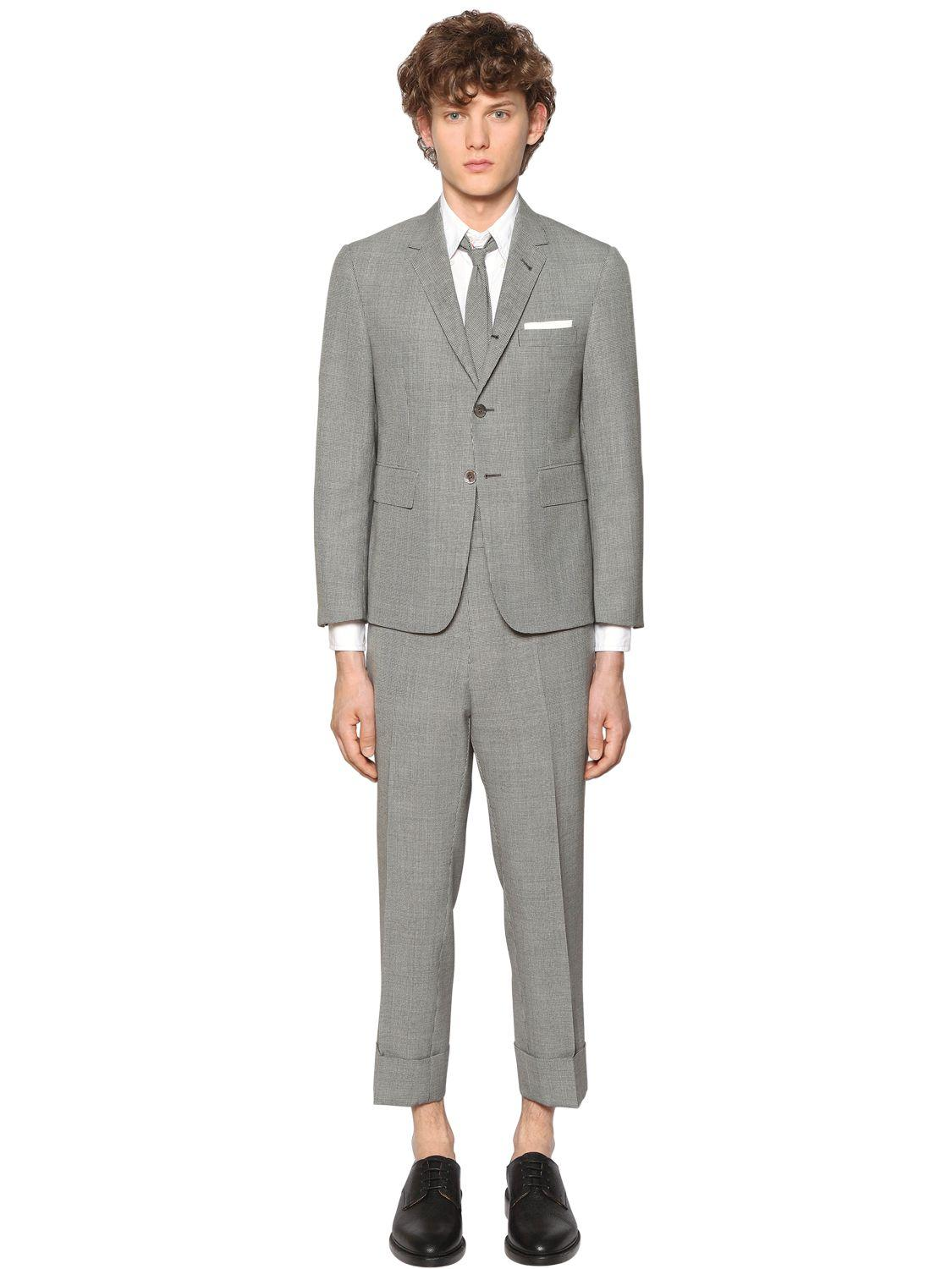 Thom browne Micro Houndstooth Light Wool Suit in Gray for Men | Lyst