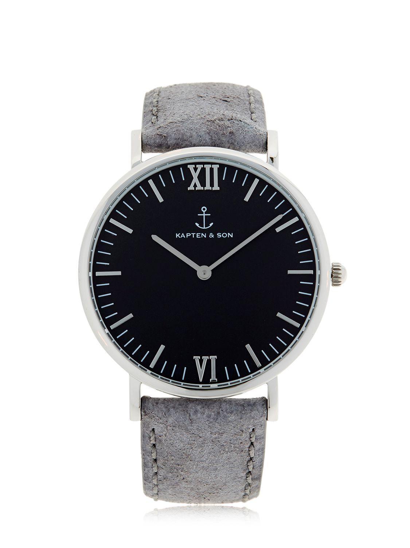 kapten son 40mm vintage leather watch in metallic lyst. Black Bedroom Furniture Sets. Home Design Ideas