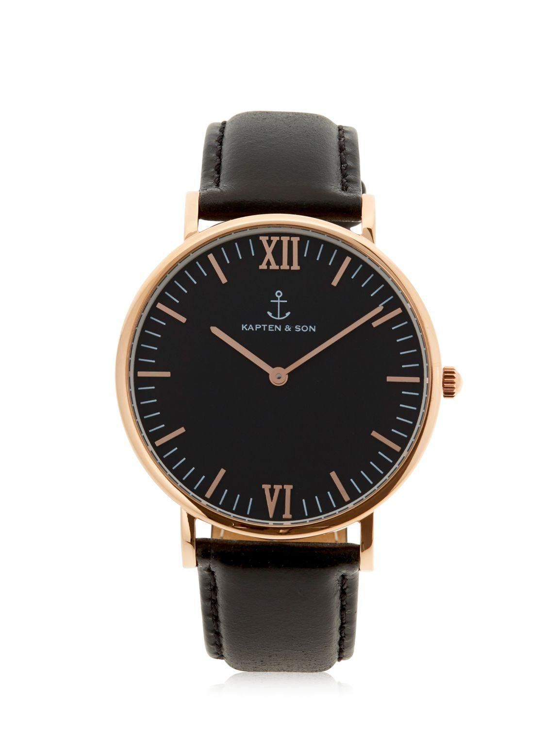 kapten son 40mm leather watch in metallic for men lyst. Black Bedroom Furniture Sets. Home Design Ideas